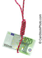 Money in gibbet - Money hanging from a gibbet on white