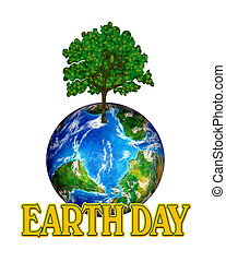 Earth Day Graphic - Illustration for Earth Day with tree,...