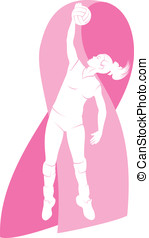 Volleyball Player w Breast Cancer - Vector illustration of a...