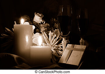 Candlelit Romance - Candlelit romantic setting with wine,...