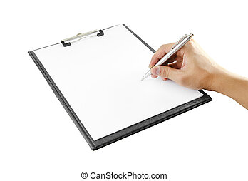hand with pen writing on clipboard on white background with...