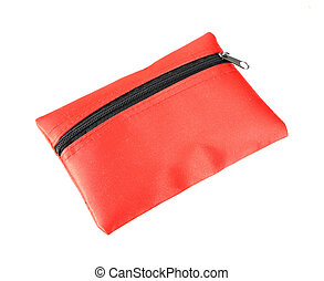red coins purse with zip on white background