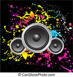 Grunge sound - Speakers on colourful grunge background
