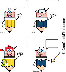 Pencil Characters Set Collection 1 - Pencil Cartoon...