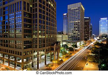 centro cidade, Phoenix, Arizona, noturna