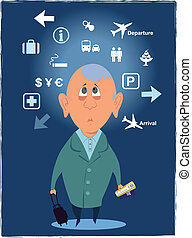Passenger in the airport - Confused passenger with a...