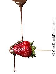 fresas, chocolate, aislado