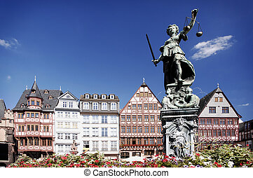 Justitia, Römerberg Frankfurt Germany - Justitia on the...