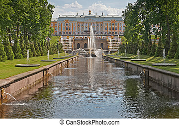 Peterhof Grand Palace Park - St Petersburg, Russia - March...