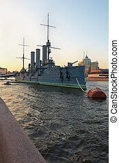 Russian cruiser Aurora - St Petersburg, Russia - June 4:...