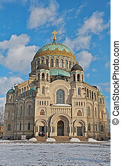 Naval Cathedral in Kronstadt - St Petersburg, Russia - March...