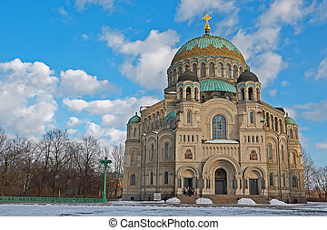 Naval Cathedral in Kronstadt - St. Petersburg, Russia -...