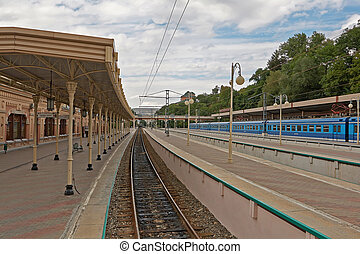 The railway station, the city of Kislovodsk, Caucasus,...