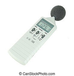 sound level meter (display show high level) on white...