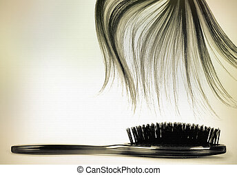 long hair brush vintage - long brown hair style on white...