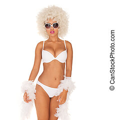 sexy woman wearing white bikini and afro on white