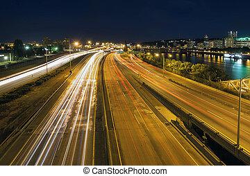 Interstate Freeway Light Trails Through Portland Oregon