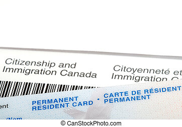 Permanent resident card over immigration Canada letter -...