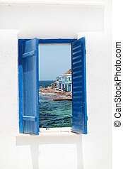 Traditional window with sea view, Greece