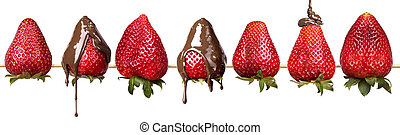 strawberries and chocolate isolated - strawberries and...