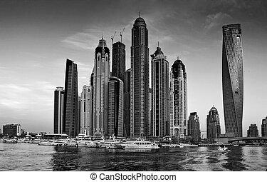 Dubai Marina at sunset - DUBAI, UAE - NOVEMBER 14: Dubai...