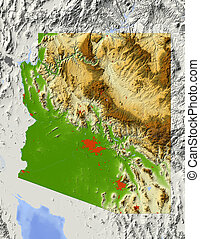 Arizona, shaded relief map - Arizona Shaded relief map, with...