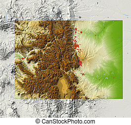 Colorado, shaded relief map - Colorado. Shaded relief map,...