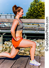 lunge - side view - fitness girl lunge - side view