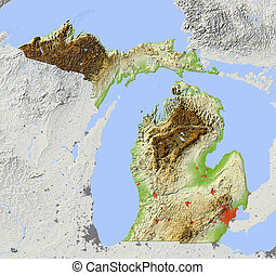 Michigan, shaded relief map - Michigan. Shaded relief map....