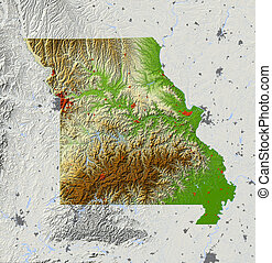Missouri, shaded relief map - Missouri. Shaded relief map,...