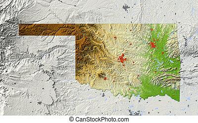 Oklahoma, shaded relief map - Oklahoma Shaded relief map,...