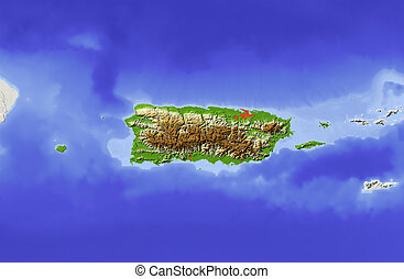 Puerto Rico, shaded relief map - Puerto Rico Shaded relief...