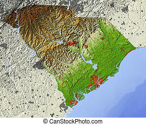 South Carolina, shaded relief map