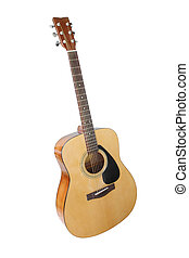 acoustic classic guitar on white background with clipping...