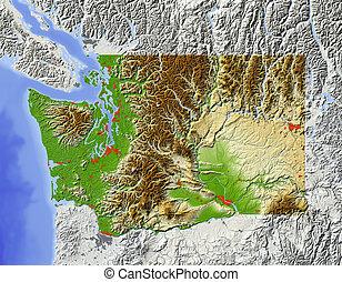 Washington, shaded relief map - Washington, US state. Shaded...