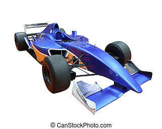 racing car - blue racing car isolated