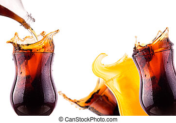 Fresh coke background with ice and splash isolated on a...