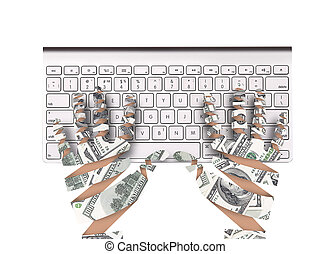 Hand made of dollar bank notes and keyboard