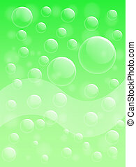 Air bubble on green background