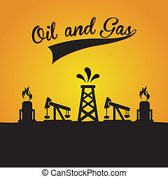 oil and gas design over yellow background vector...
