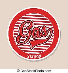 gas station over pink background vector illustration