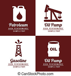 fuel icons fuel icons over white and brown background vector...