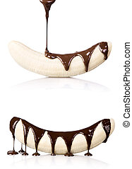 banana with chocolate isolated - temptation concept - banana...