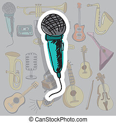 microphone icon over gray background vector illustration