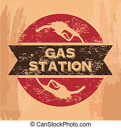 gas station seal over vintage background vector illustration