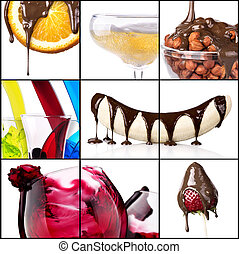 tasty desserts and fresh drinks collage - strawberries,...