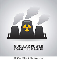 nuclear power over gray background vector illustration