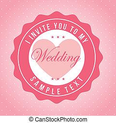 wedding design over pink background vector illustration