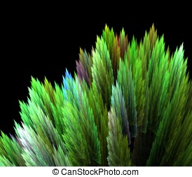Spike Greens Abstract - Spiked layers of green texture with...