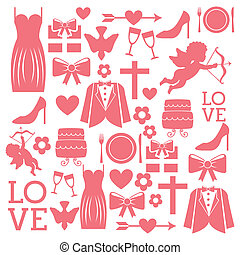 wedding icons over white background vector illustration